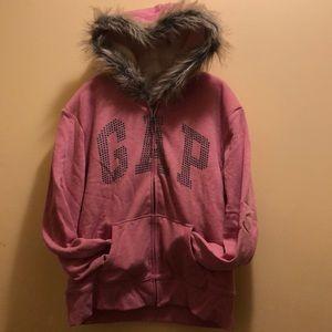 Girls Gap Sherpa lined hooded sweatshirt